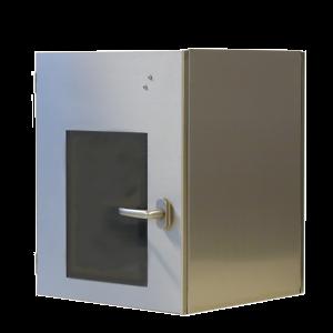 doorgeefsluis-rvs-mechanisch-interlock-opbouw-scharnieren-opliggende-deur