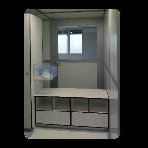 kleedsluis-cleanroom-overstapbank-hpl-volkern-meubilair-acrylaat-dispenser