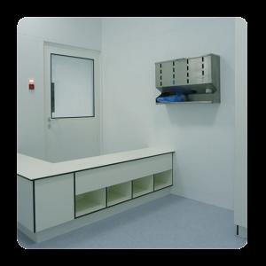 kleedsluis-cleanroom-overstapbank-hpl-volkern-meubilair-dispenser