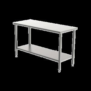 Cleanroom tafel RVS, met dicht werkblad en bodemschap, op RVS stelvoeten.