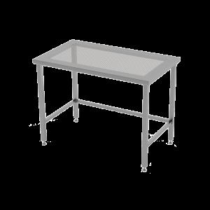 RVS cleanroomtafel met geperforeerd werkblad.